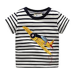 tanie Odzież dla chłopców-Dzieci / Brzdąc Dla chłopców Podstawowy Prążki / Nadruk Niejednolita całość / Nadruk Krótki rękaw Bawełna T-shirt