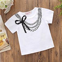 tanie Odzież dla dziewczynek-Brzdąc Dla dziewczynek Aktywny / Podstawowy Codzienny Nadruk Łuk Krótki rękaw Regularny Bawełna / Poliester T-shirt Biały 100