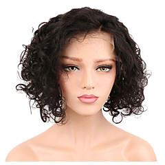 billiga Peruker och hårförlängning-Remy-hår Hel-spets Peruk Brasilianskt hår Lockigt Kort Bob 130% Densitet Naturlig hårlinje / Med blekta knutar Korta Dam Äkta peruker med hätta