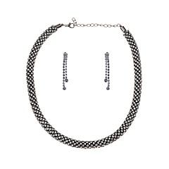 baratos Conjuntos de Bijuteria-Transparente Conjunto de jóias - Caído Vintage, Europeu Incluir Dourado / Preto / Prata Para Carnaval / Brincos