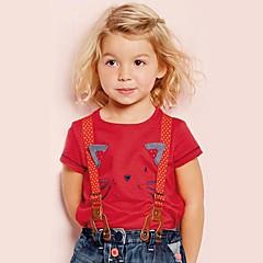billige Pigetoppe-Børn / Baby Pige Kat Trykt mønster Kortærmet T-shirt