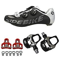billige Sykkelsko-SIDEBIKE Sykkelsko med pedal og tåjern / Veisykkelsko Karbonfiber Anti-Skli, Anvendelig Sykling Rød og Hvit / Svart+Sølv Herre