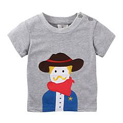 baratos Roupas de Meninos-Infantil / Bébé Para Meninos Preto e cinza Retalhos Manga Curta Camiseta