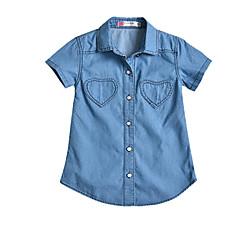 billige Babyoverdele-Baby Unisex Ensfarvet Kortærmet Skjorte