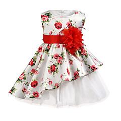 baratos Roupas de Meninas-Infantil Para Meninas Floral Sem Manga Vestido