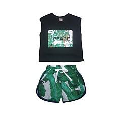 billige Tøjsæt til drenge-Børn Drenge Aktiv Trykt mønster Trykt mønster Kortærmet Kort Tøjsæt