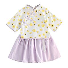 billige Tøjsæt til piger-Børn Pige Blomstret 3/4-ærmer Tøjsæt