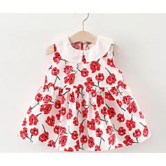 billige Babytøj-Baby Pige Strand Trykt mønster Uden ærmer Bomuld Kjole / Sødt
