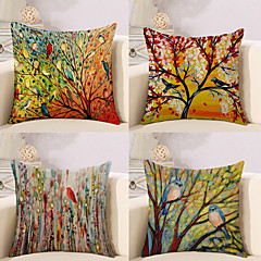 cheap Home Textiles-Pack of 4, Botanical Animal Oil Painting Artistic Pastoral Style Cotton Linen Decorative Square Throw Pillow Covers Set Cushion Case for Sofa Bedroom Car