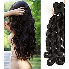 hesapli Postişler-4 Paket Düz Brezilya Saçı Gevşek Dalgalar 10A Virgin Saç İnsan saç örgüleri 8-28 inç Doğa siyah İnsan saç örgüleri Rahat Kalın Saç Ucu Çift atkı İnsan Saç Uzantıları Kadın's