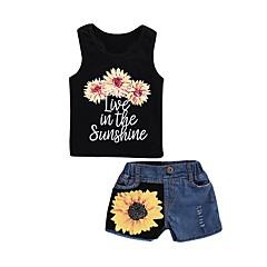 billige Tøjsæt til piger-Børn / Baby Pige Blomstret / Trykt mønster Uden ærmer Tøjsæt