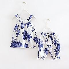 billige Tøjsæt til piger-Børn Baby Pige Blomstret Uden ærmer Kortærmet Tøjsæt