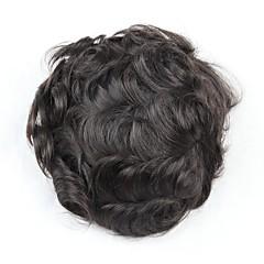 billiga Peruker och hårförlängning-Herr Äkta hår Tupéer Vågigt Mjuk / Bekväm / 100 % handbundet