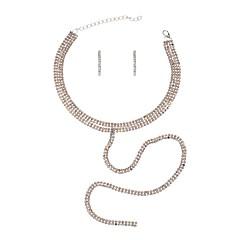 baratos Conjuntos de Bijuteria-Zircônia Cubica Conjunto de jóias - Bandeira Luxo, Boêmio, Boho Incluir Dourado / Prata Para Formal Ano Novo / Brincos