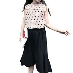 billige Tøjsæt til piger-Børn Pige Basale Daglig Prikker / Houndstooth mønster Trykt mønster Uden ærmer Normal Normal Polyester Tøjsæt Kakifarvet
