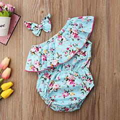 billige Babytøj-Baby Pige Vintage / Aktiv I-byen-tøj Blomstret Sløjfer / Drapering Uden ærmer Bodysuit