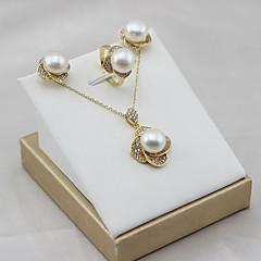 tanie Zestawy biżuterii-Damskie Perła Perła słodkowodna Biżuteria Ustaw - Pozłacany, S925 srebro, Perła słodkowodna Kwiat Klasyczny, Natutalne, Elegancja Zawierać Zestawy biżuterii ślubnej Złoty Na Impreza Prezent