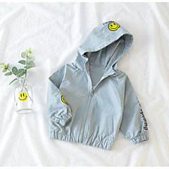 billige Overtøj til babyer-Baby Unisex Basale Geometrisk / Trykt mønster Langærmet Bomuld Jakke og frakke