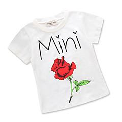 billige Pigetoppe-Baby Pige Aktiv Daglig / I-byen-tøj Blomstret / Trykt mønster Trykt mønster Kortærmet Normal Bomuld / Polyester T-shirt Hvid 100