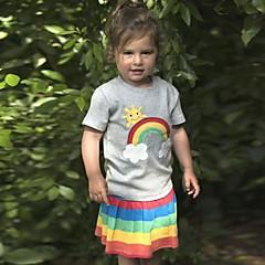 billige Pigetoppe-Børn / Baby Pige Aktiv / Basale Daglig / Sport Regnbue / Patchwork Patchwork / Broderi Kortærmet Normal Bomuld T-shirt Grå 100