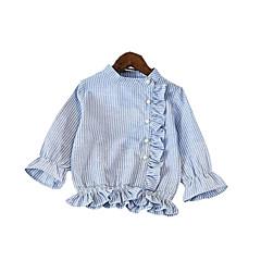 billige Jenteklær-Baby Jente Aktiv / Gatemote Skole BLå & Hvit Stripet Langermet Bomull Skjorte