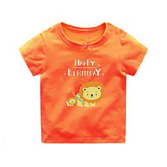 billige Babyoverdele-Baby Unisex Basale / Gade Trykt mønster Kortærmet Bomuld T-shirt