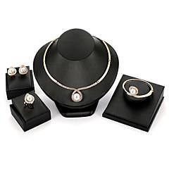billige Smykke Sett-Dame Smykkesett 1 Halskjede / 1 Armbånd / 1 Ring - Statement / Mote Sirkelformet Gull Smykke Sett Til Fest / Seremoni