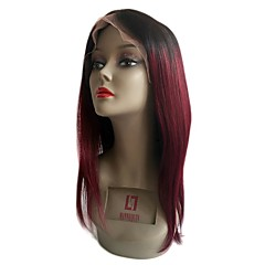 cheap Wigs & Hair Pieces-Remy Human Hair Unprocessed Human Hair Lace Front Wig Brazilian Hair Straight Burgundy Wig 130% Density with Baby Hair Natural Hairline Unprocessed Bleached Knots Burgundy Women's Short Medium Length