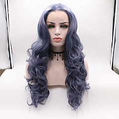 cheap Wigs & Hair Pieces-Synthetic Lace Front Wig Women's Wavy Gray Layered Haircut Synthetic Hair Curler & straightener Gray Wig Mid Length Lace Front Lake Blue