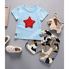billige Tøjsæt til drenge-Baby Drenge Aktiv Geometrisk / Trykt mønster Trykt mønster Kortærmet Kort Bomuld Tøjsæt