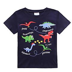 tanie Odzież dla chłopców-Brzdąc Dla chłopców Podstawowy Codzienny Nadruk Nadruk Krótki rękaw Regularny Bawełna / Poliester T-shirt Granatowy