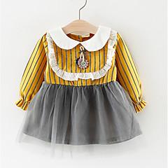billige Babykjoler-Baby Pige Patchwork Langærmet Kjole