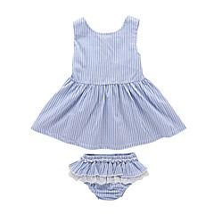 billige Sett med babyklær-Baby Pige Aktiv / Basale Daglig / Sport Trykt mønster Blonder Uden ærmer Lang Lang Bomuld / Polyester Tøjsæt Blå