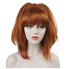 billige Kostymeparykk-Syntetiske parykker Dame Rett Rød Bobfrisyre Syntetisk hår 100% kanekalon hår Rød Parykk Mellemlængde Lokkløs StrongBeauty / Ja