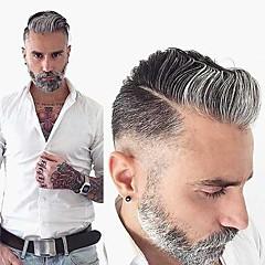 Недорогие Парики и накладки-Муж. Натуральные волосы Накладки для мужчин Волнистый Моноволокно Мягкость