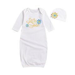 billige Babytøj-Baby Pige Aktiv Trykt mønster Halvlange ærmer Bomuld Nattøj