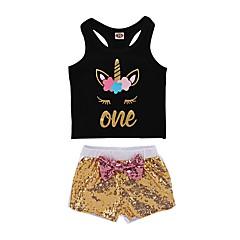 billige Babytøj-Baby Pige Aktiv Trykt mønster Uden ærmer Lang Bomuld Tøjsæt