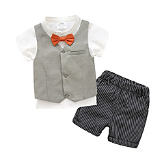 billige Tøjsæt til drenge-Baby Drenge Ensfarvet / Stribet Kortærmet Tøjsæt