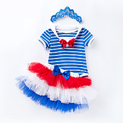 billige Babytøj-Baby Pige Stribet Kortærmet Tøjsæt