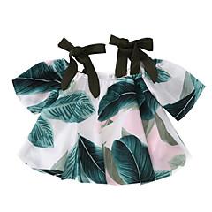 billige Pigetoppe-Børn Pige Basale Blomstret Trykt mønster Kortærmet Bluse