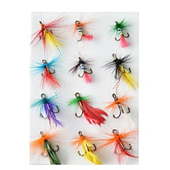 billiga Fiskbeten och flugor-12 pcs Flugor / Lock förpackningar / Fiske krokar Flugor Fjädrar / Kolstål Vattentålig / Enkel att installera / Lätt att bära Flugfiske / Kastfiske / Färskvatten Fiske / Generellt fiske