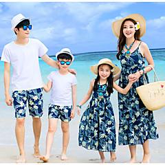 billige Sett med familieklær-Familie Look Grunnleggende Fargeblokk Ermeløs Tøysett