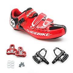 billige Sykkelsko-SIDEBIKE Voksne Sykkelsko med pedal og tåjern / Veisykkelsko Karbonfiber Demping Sykling Rød / Svart Herre