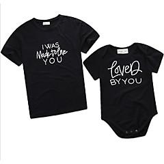 olcso Családi öltözet szettek-Kisgyermek Anyu és én Aktív Napi Mértani Nyomtatott Rövid ujjú Szokványos Pamut / Poliészter bodysuit Fekete