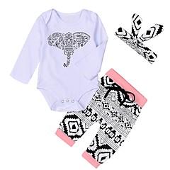 billige Sett med babyklær-Baby Pige Aktiv Trykt mønster Langærmet Lang Bomuld Tøjsæt