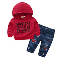 ieftine Haine Bebeluși Băieți-Bebelus Băieți De Bază Zilnic Mată Manșon Lung Regular Poliester Set Îmbrăcăminte Roșu-aprins / Copil