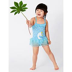 billige Badetøj til piger-Baby Pige Aktiv Strand Geometrisk Trykt mønster Uden ærmer Polyester Badetøj Blå 100