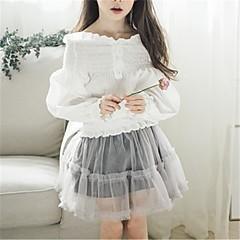 billige Pigetoppe-Børn Pige Aktiv Ensfarvet Langærmet Bomuld Bluse