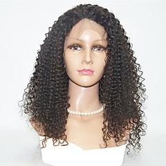 billiga Peruker och hårförlängning-Äkta hår Spetsfront Peruk Indiskt hår Kinky Curly Peruk 130% Hårtäthet Äkta peruker med hätta