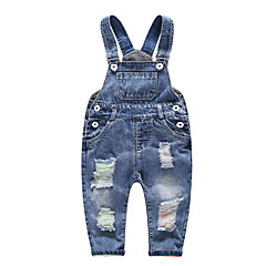 billige Babyunderdele-Baby Pige Basale Daglig Ensfarvet Hul Bomuld / Spandex Overall og jumpsuit Blå 100